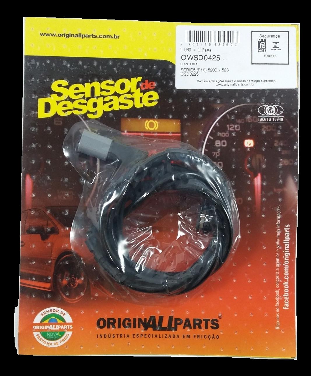 Sensor de Desgaste da Marca originALLparts - BMW Série 5 / Série 6 / Série 7 - Dianteira - OWSD0425