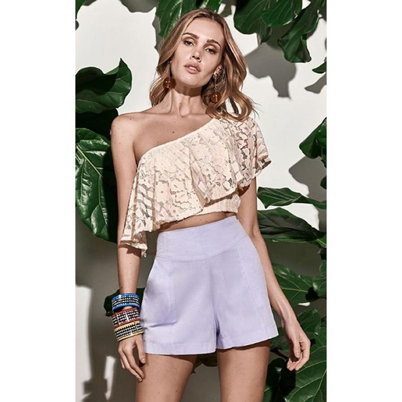 Blusa Cropped Renda Um Ombro Creme S Trend