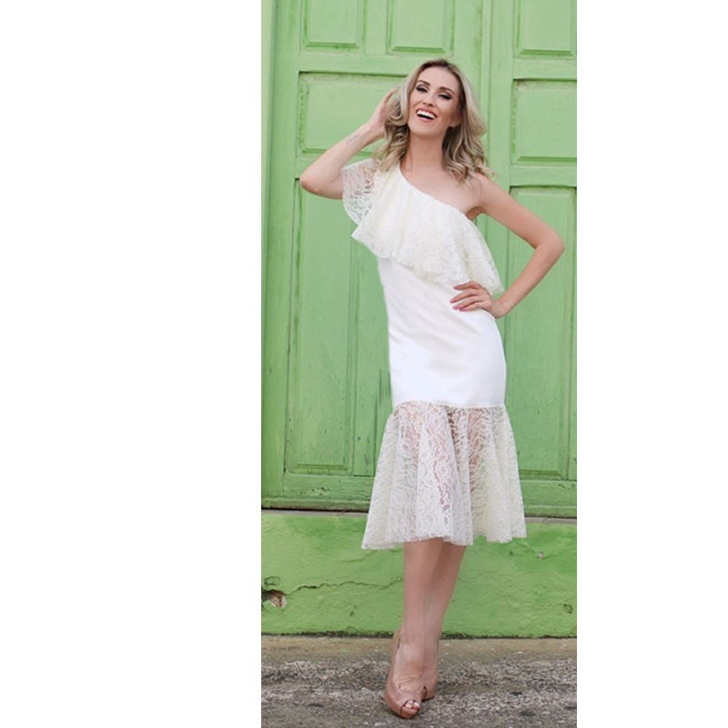 Vestido Midi Um Ombro Renda Off White Zen