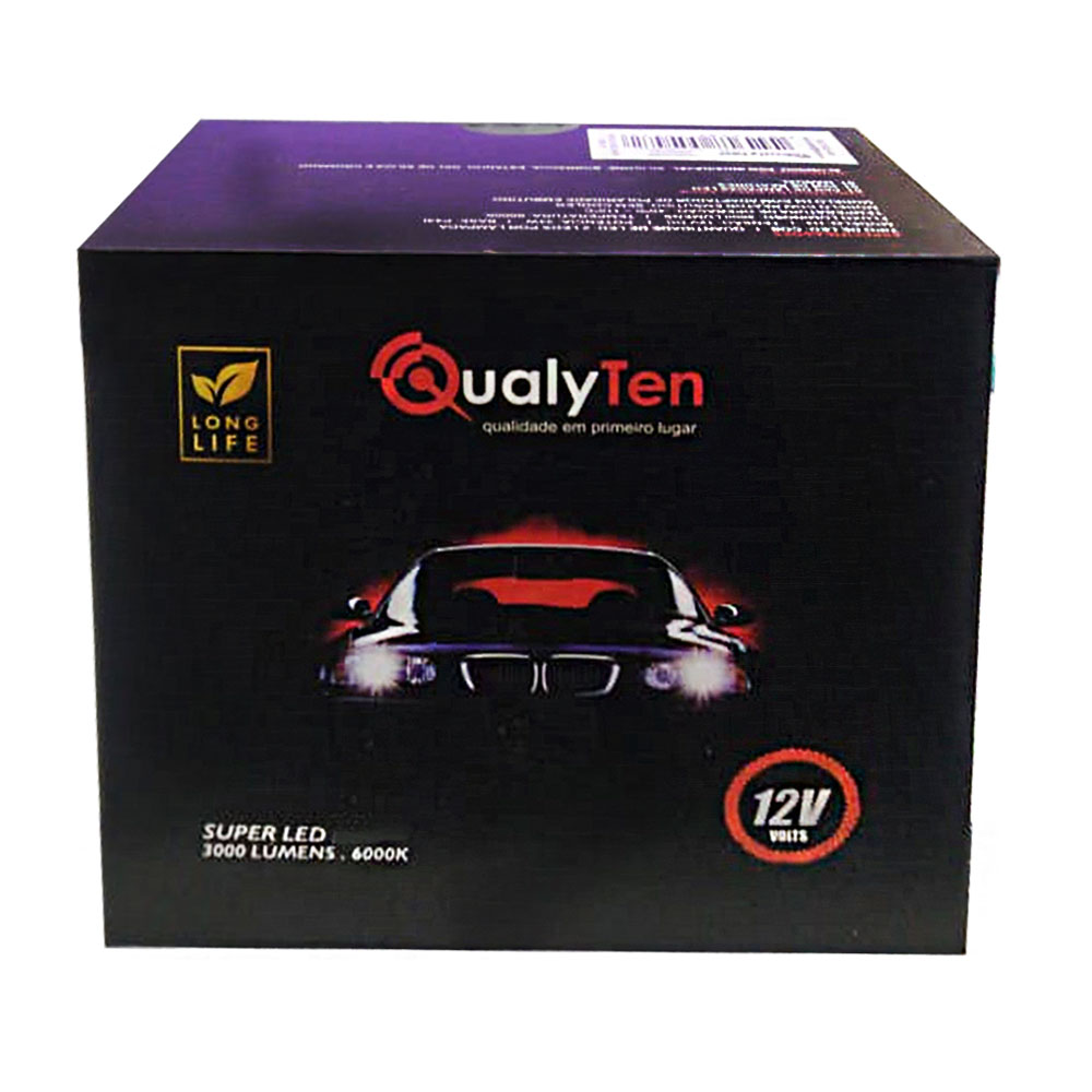 Lâmpada Super Led Automotiva H8 12V 34W 6000K - Qualyten - Vendido no Par