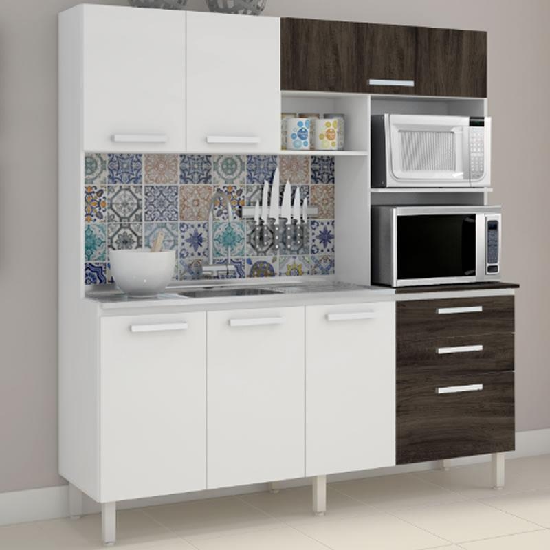 Armário de Cozinha 7 Portas Capri Branco White Petroleo Kits Parana - 9315326