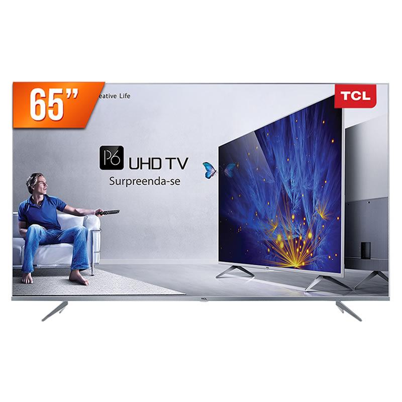 Televisor Smart TCL 65P6US Tela 65 LED 4K Ultra HD Digital Wi-Fi 3 HDMI 2 USB